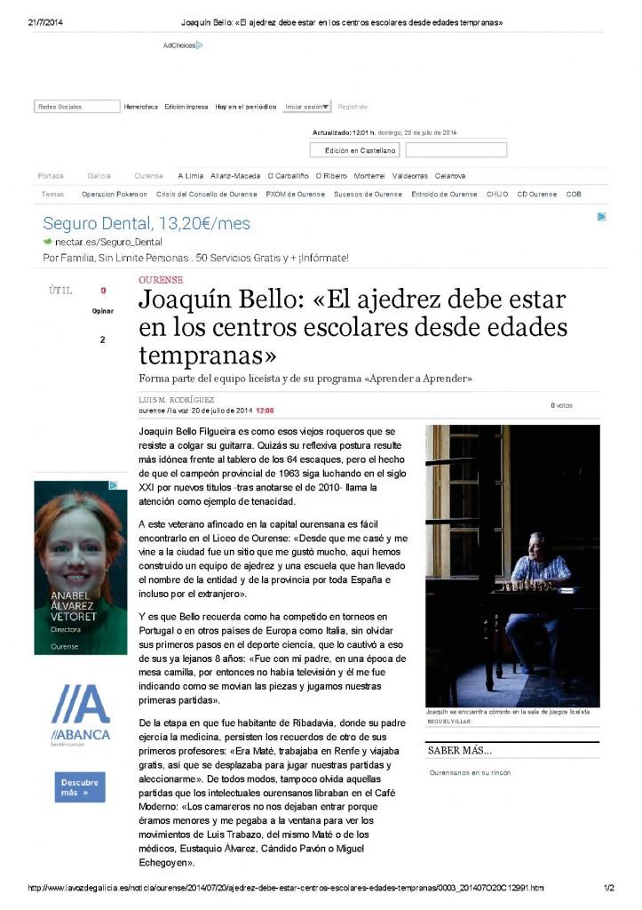 Joaquín Bello_ «El ajedrez debe estar en los centros escolares desde edades tempranas»